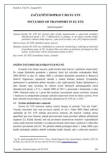 ZAČLENĚNÍ DOPRAVY DO EU ETS INCLUSION OF TRANSPORT ...