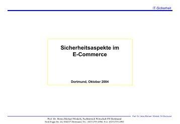 Sicherheitsaspekte im E-Commerce - Prof. Dr. Heinz-Michael Winkels