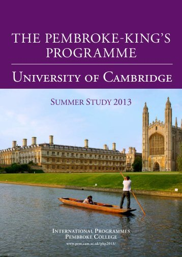 PKP 2013 e-brochure - Pembroke College - University of Cambridge