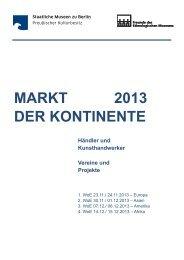 MARKT 2013 DER KONTINENTE - Staatliche Museen zu Berlin