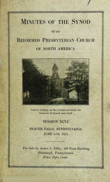 Reformed Presbyterian Minutes of Synod 1925 - Rparchives.org