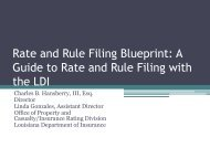 Rate and Rule Filing Blueprint - Louisiana Department of Insurance
