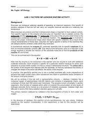 Lab 2. factors influencing enzyme activity - Explore Biology