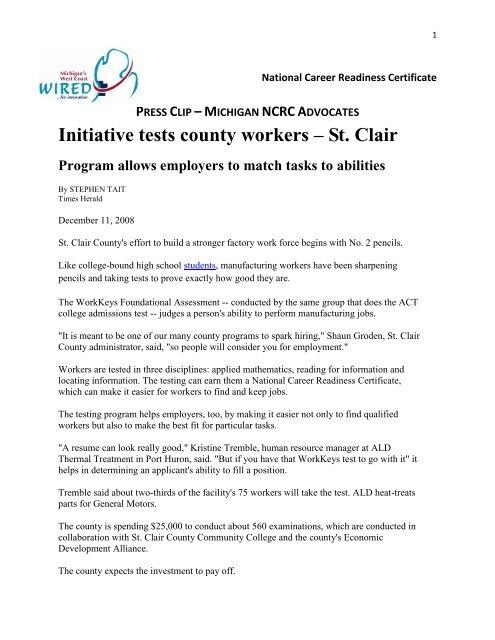 PRESS CLIP –MICHIGAN NCRCADVOCATES Initiative tests county