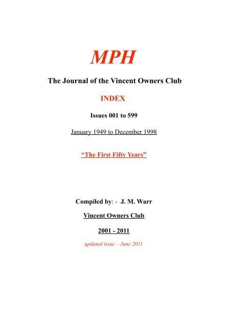 Warr's MPH Index - Vincent HRD Owners Club