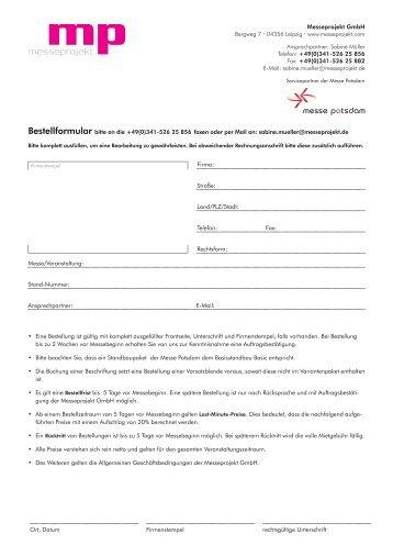 Download Bestellformular Standbau und Möbel - Heimtiermesse ...