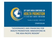 governance and financing for health promotion: innovations in the ...