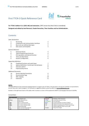 TTCN-3 Quick Reference Card - Cheat Sheet