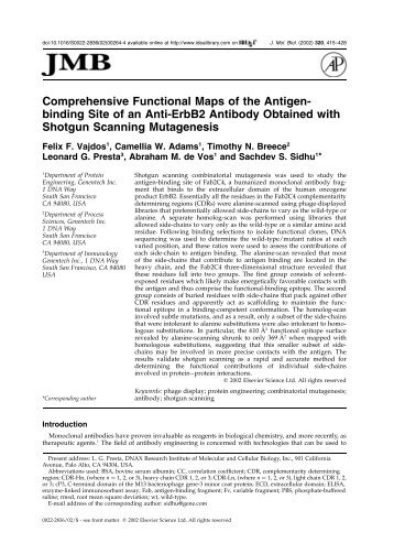 Comprehensive Functional Maps of the Antigen- binding Site of an ...