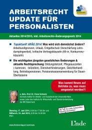ARBEITSRECHT UPDATE FÜR PERSONALISTEN - Linde Verlag