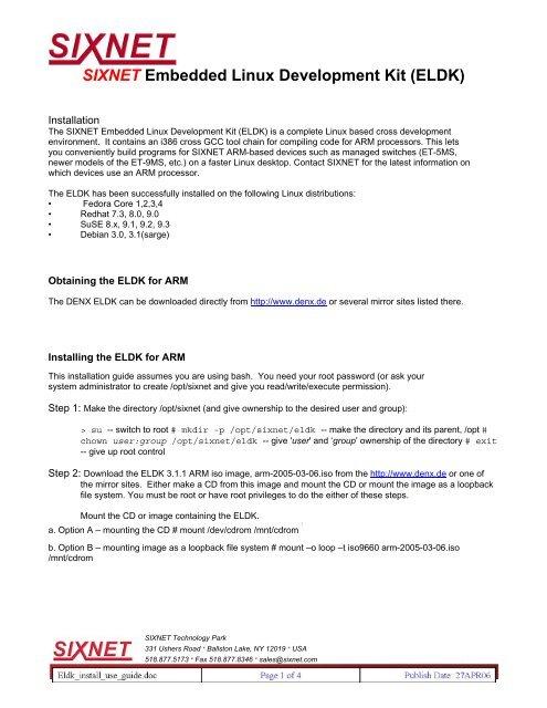 SIXNET Embedded Linux Development Kit (ELDK)