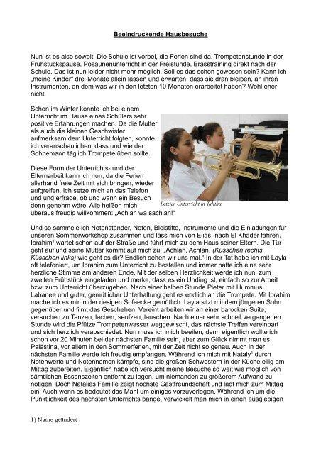 Erlebnisse beim Hausunterricht - Brass for Peace