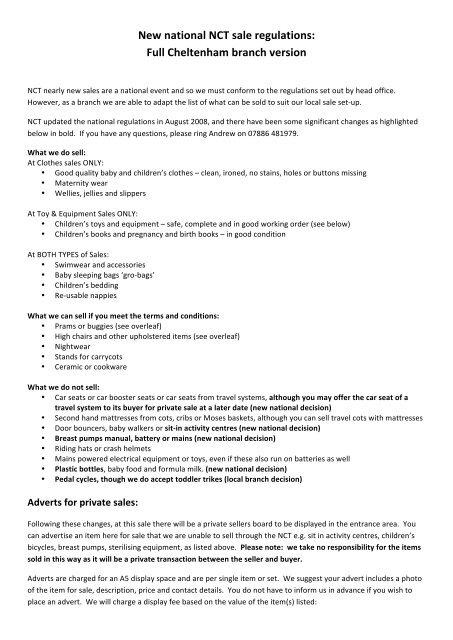 New national NCT sale regulations: Full Cheltenham branch