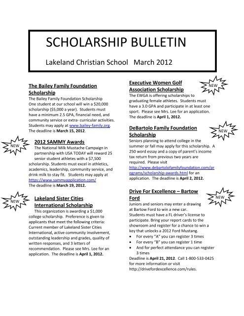 SCHOLARSHIP BULLETIN - Lakeland Christian School