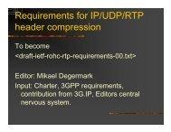 Requirements for IP/UDP/RTP header compression