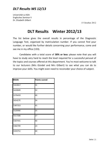 DLT Results Winter 12+13 by number-1 - Englisches Seminar II ...