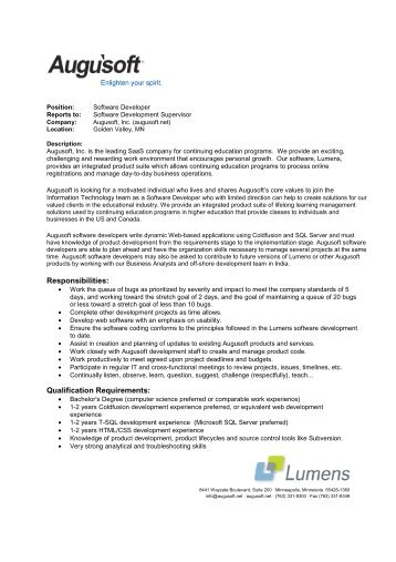Software Developer Job Description Fields Related To Lead Software