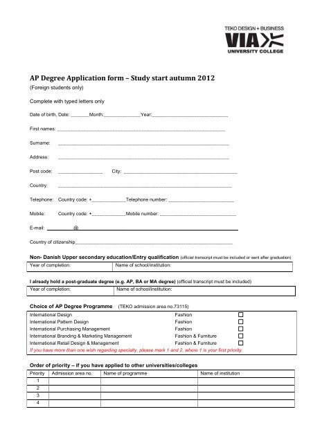 Teko Ap Degree Application Form Scandinavian Study