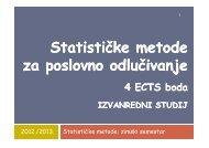 Statističke metode za poslovno odlučivanje za poslovno odlučivanje