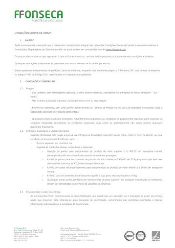 CONDIÇÕES GERAIS DE VENDA 1. ÂMBITO Toda a ... - FFonseca