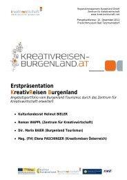 Erstpräsentation Kreativreisen Burgenland