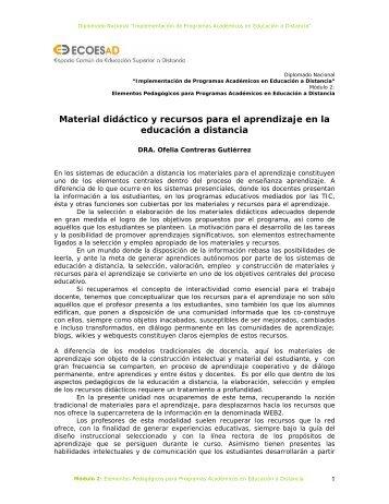 Material didàctico y recursos para el aprendizaje en la EAD