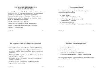 GRUNDLAGEN DER LOGISCHEN PROGRAMMIERUNG Zur ...