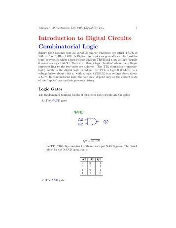 Introduction to Digital Circuits Combinatorial Logic