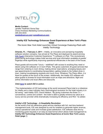 Intelity ICE Technology Enhances Guest Experience at New York's ...