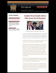 Update from South Africa TMS Alum David Beakley - The Master's ...