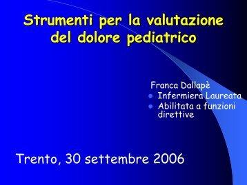 Strumenti per la valutazione del dolore pediatrico