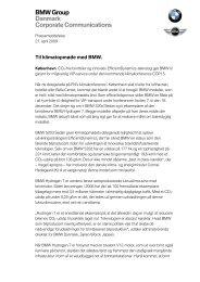 Læs pressemeddelelse. BMW er officiel bilsponsor ... - BMW Danmark