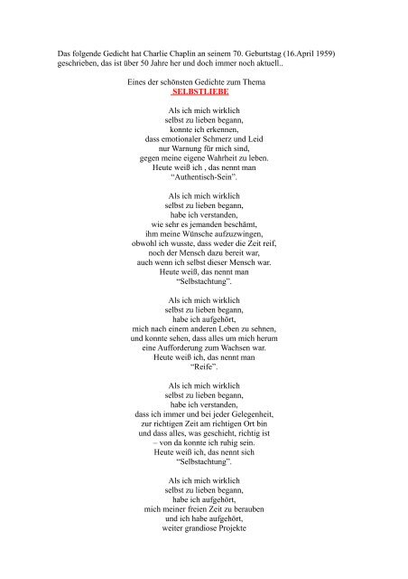 Das Folgende Gedicht Hat Charlie Chaplin An Seinem 70
