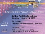 LBNL Technology Demonstration Programs - Critical Facilities ...