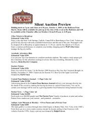 Silent Auction Preview - West Shore Chamber of Commerce