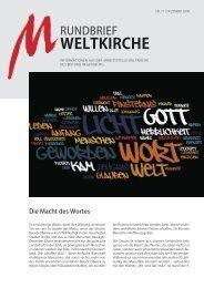 Nr. 17 - Dezember 2008 - Arbeitsstelle Weltkirche