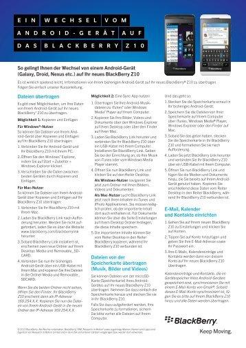 Wechselanleitung auf BlackBerry 10 Geräte - wireless & mobile
