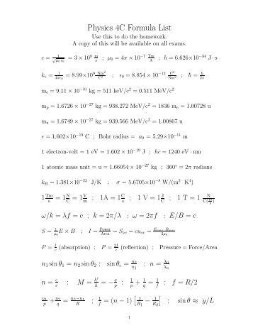 Physics 4C Formula List