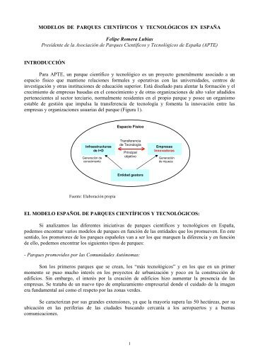 Modelos de Parques Científicos y Tecnológicos en España