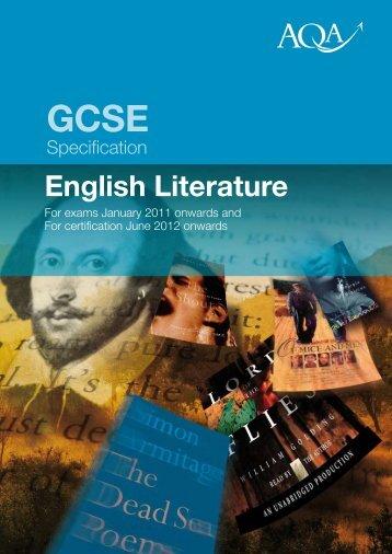 GCSE English Literature Specification - Kingsdown School