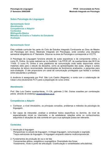 Sobre Psicologia da Linguagem - Universidade do Porto