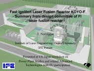 Fast ignition Laser Fusion Reactor KOYO-F - Summary from design ...