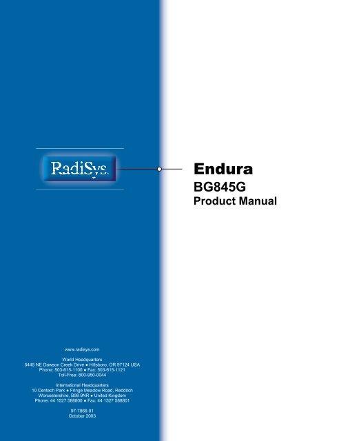 Endura BG845G Product Manual - Radisys