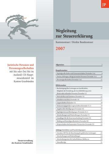 Wegleitung zur Steuererklärung für Juristische Personen und ...