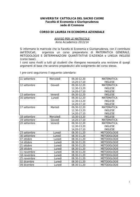 Unicatt Calendario Esami.Universita Cattolica Del Sacro Cuore Sede Di Piacenza