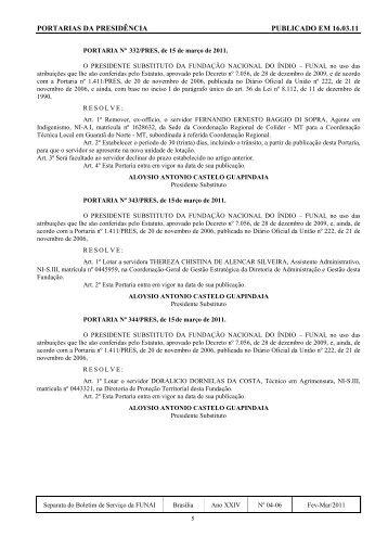 PORTARIAS DA PRESIDÊNCIA PUBLICADO EM 16.03.11 - Funai