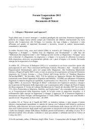 Forum Cooperazione 2012 Gruppo 8 Documento di Sintesi ...