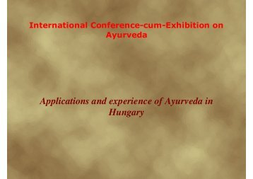 Applications and experience of Ayurveda in Hungary
