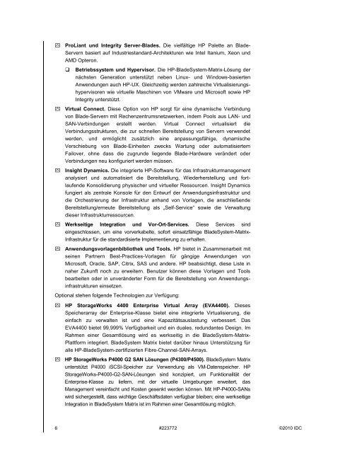 WHITE PAPER HP Bladesystem Matrix: Elemente einer ...