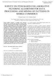 survey on item based collaborative filtering algorithm for ... - ijcsmr